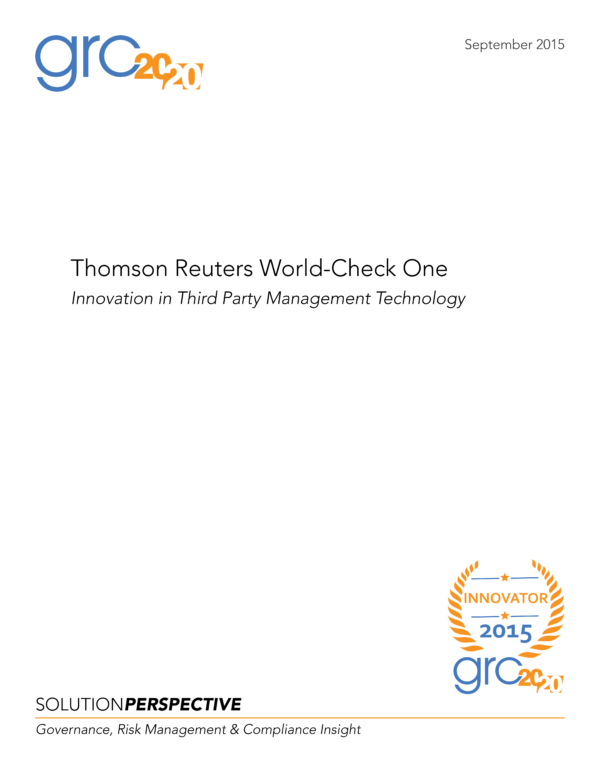 Thomson Reuters World-Check One: Innovation in Third Party